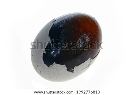 Eggs, duck egg, preserved egg on a white background, close-up pictures