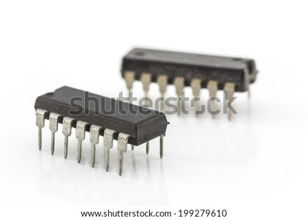 closeup integrated circuit isolated on white base #199279610