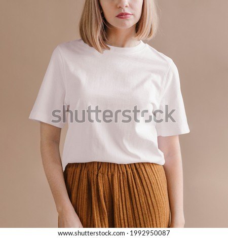 Woman in a white t-shirt social ads template Royalty-Free Stock Photo #1992950087