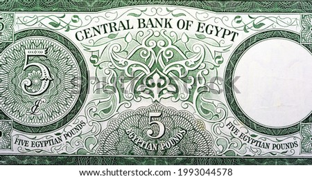 The reverse side of an old Five Egyptian pounds banknote 5 LE Issue year 1963 with Value at left, watermark area at right , Leftover currency non circulating, vintage retro, old Egyptian money.