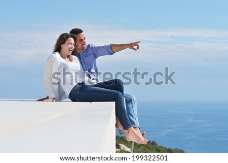 happy young romantic couple have fun relax smile at modern home indoor and outdoor #199322501