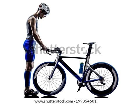 man triathlon iron man athlete in silhouette on white background