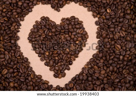 heart shape background made with coffee beans. Landscape orientation. #19938403