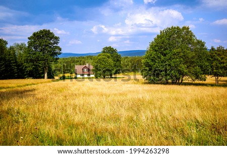 Farm house in the middle of a field. Summer farmland landscape. Agriculture field at farm house Royalty-Free Stock Photo #1994263298