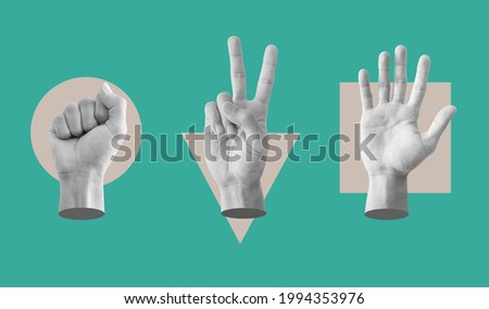 Digital collage modern art. Rock, Scissor and paper hand sign, with conflict geometry