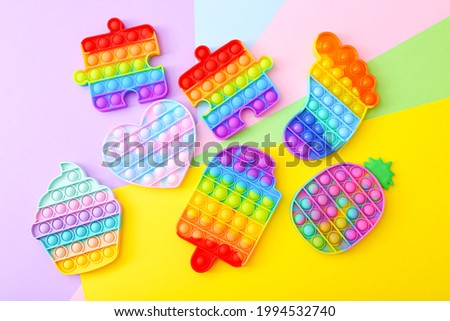 Colorful Push Pop It Bubble Sensory Fidget Toys of different shapes, Sensory Silicone Toys for Autism, Fidget Popper, Anti Anxiety and Stress Relief Game Royalty-Free Stock Photo #1994532740