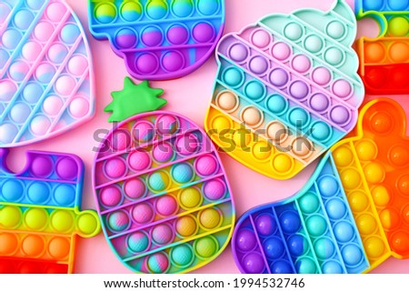 Colorful Push Pop It Bubble Sensory Fidget Toys of different shapes, Sensory Silicone Toys for Autism, Fidget Popper, Anti Anxiety and Stress Relief Game Royalty-Free Stock Photo #1994532746