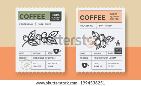 Packaging design for coffee. Vector vintage product label template. Retro package with Coffee branch. Royalty-Free Stock Photo #1994538251