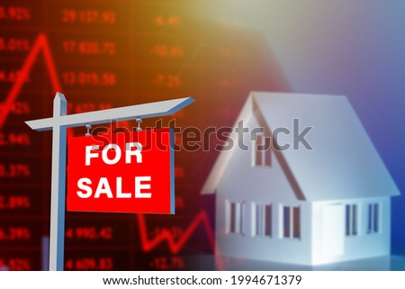 Selling house due to falling property prices. For sale sign house and red quotes. They symbolize fall in property prices. Sale of cheap real estate. Concept decrease in value of house due to crisis