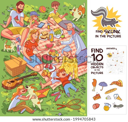 Family at picnic. Find 10 hidden objects in the picture. Find Skunk. Puzzle Hidden Items. Funny cartoon character. Vector illustration Royalty-Free Stock Photo #1994705843
