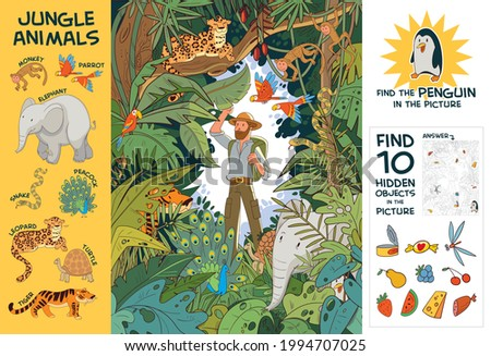 Explorer in Indian jungle stands among hidden animals. Find all animals in picture. Find 10 hidden objects in picture. Find Penguin. Puzzle Hidden Items. Funny cartoon character. Vector Set Royalty-Free Stock Photo #1994707025