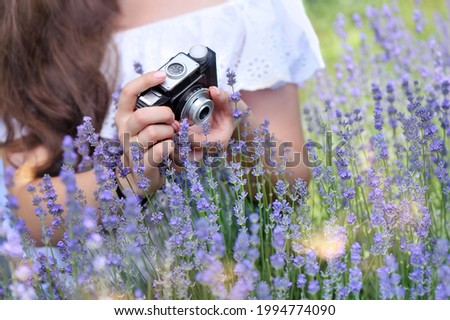 Woman taking pictures of blooming lavender with a retro photo camera