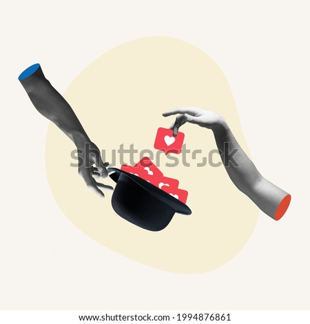 Modern gadget and classic hat. Hands aesthetic on bright background, artwork. Concept of human relation, community, togetherness, symbolism, surrealism. Likes in phone as approval symbol