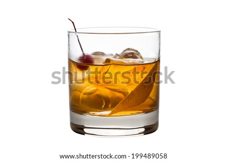 Old fashioned cocktail isolated on white background Royalty-Free Stock Photo #199489058