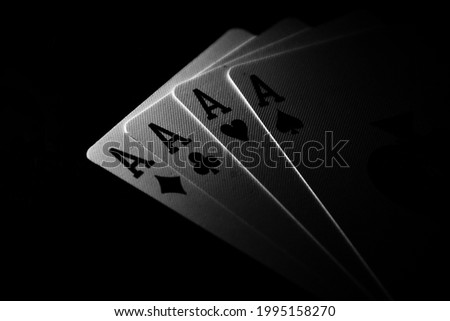 playing cards ace in black and white Royalty-Free Stock Photo #1995158270