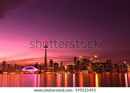 Cityscape of Toronto at night