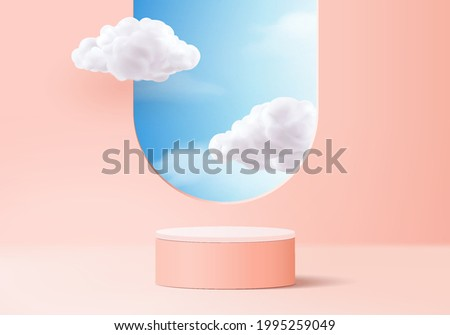 cloud background vector 3d pink rendering with podium and minimal cloud scene, minimal product display background 3d rendered geometric shape sky cloud pink podium. Stage 3d render product in platform Royalty-Free Stock Photo #1995259049
