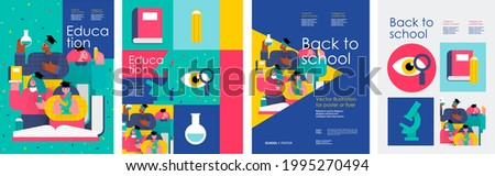 School and education. Vector abstract geometric illustration of students, schoolchildren, stationery, for poster, background or cover. Back to school. Royalty-Free Stock Photo #1995270494