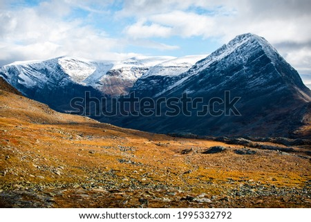 Kungsleden trail, a shortcut between Salka cottage and Kebnekaise Mountain Station, Lapland, Sweden, early autumn 2020 Royalty-Free Stock Photo #1995332792