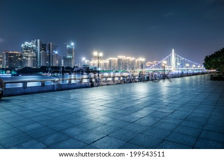 Guangzhou bridge at night in China #199543511