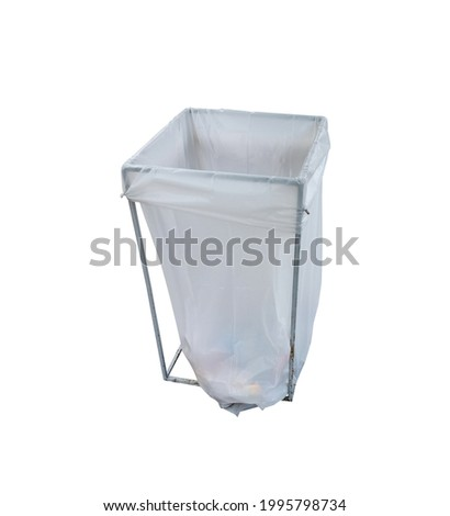 Garbage bag converted to general waste bin suitable for office, isolated on white background