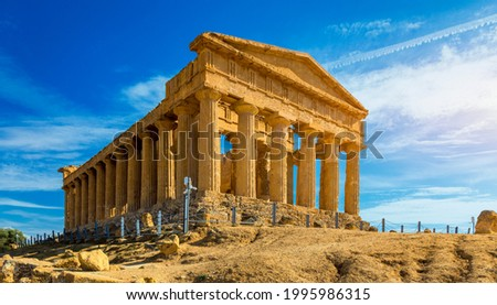 Valley of the Temples (Valle dei Templi), The Temple of Concordia, an ancient Greek Temple built in the 5th century BC, Agrigento, Sicily. Temple of Concordia, Agrigento, Sicily, Italy Royalty-Free Stock Photo #1995986315