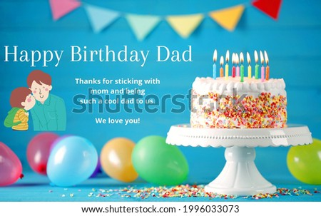 Happy birthday card for dad in text, vector. Birthday Greetings for Dad