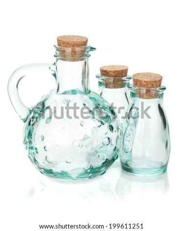 Glass bottles for seasoning. Isolated on white background #199611251