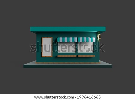 3d rendering of store or shop on dark background. 3d minimal concept for market, cafe or advertising business