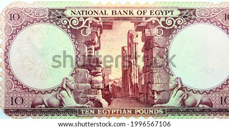 Large part of reverse side of an old 10 Egyptian pounds banknote Issue year 1958 with ruins and Sphinx watermark, non circulating anymore, vintage retro, old Egyptian banknote money, Leftover currency