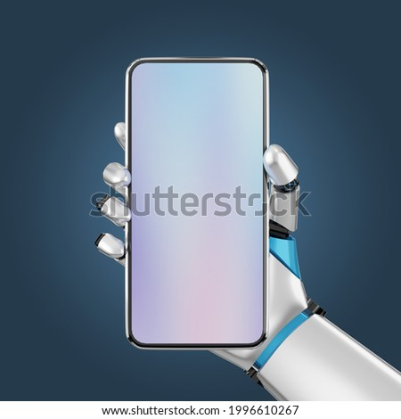 Blank screen smartphone mobile hold by robot hand for the presentation. Image with clipping path. 3D illustration image.