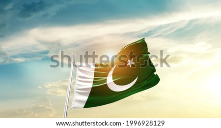 Pakistan national flag waving in beautiful clouds. Royalty-Free Stock Photo #1996928129