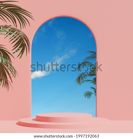 3d render, abstract geometric shape pastel pink , summer scene minimal design, product display,  Pink Interior Background with sky and summer plant.JPG Royalty-Free Stock Photo #1997192063