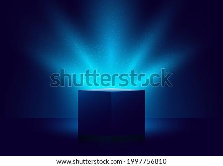 3D blue mystery box with Illuminated lighting glitter on dark background. Vector illustration Royalty-Free Stock Photo #1997756810