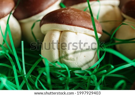 A macro shot of original marshmallow sweets in the form many delicious mushroom. Brown-white boletus. Original sweets from the grocery store. Royalty-Free Stock Photo #1997929403