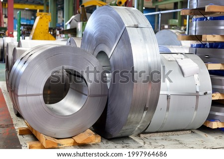 Interior of an industrial metal processing factory. High quality photo.