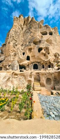 The famous picture of the Uçhisar castle. Amazing cave castle. The amazing fairy chimney castle.