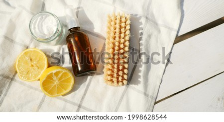 Eco friendly cleaning products banner. Zero waste ingredients flat lay. Sodium and lemon