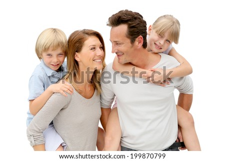 Parents giving piggyback ride to kids #199870799