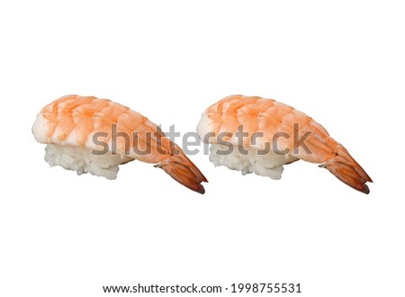 2 Pieces of Shrimp Nigiri Sushi, isolated on white background. Usable for any Japanese Restaurant as Sushi Menu and for Japanese food concept.