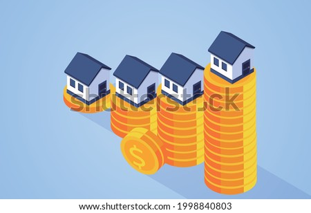 Increasing house prices, houses on isometric piles of gold coins Royalty-Free Stock Photo #1998840803