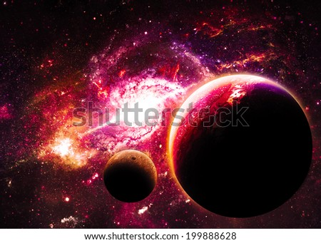 Planets over Magenta Galaxy - Elements of this image furnished by NASA