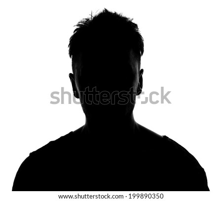 Unknown male silhouette. Back lit studio isolated #199890350