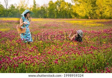 View of two Chinese women in colorful dresses and straw hats taking pictures of each other with smartphone in field of beautiful wildflowers at sunset in American Midwest