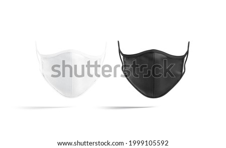 Blank black and white fabric face mask mockup, front view, 3d rendering. Empty textile respiratory for safety breathing mock up, isolated. Clear corona protective filter template.