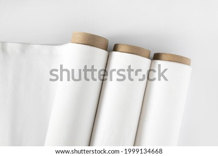 White cotton Fabric Rolls Mockup Royalty-Free Stock Photo #1999134668