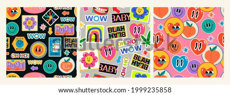 Various Patches, Pins, Stamps, Stickers. Funny cute comic Characters. Different Phrases and words. Hand drawn trendy Vector illustration. Cartoon style. Set of three Abstract square seamless Patterns Royalty-Free Stock Photo #1999235858