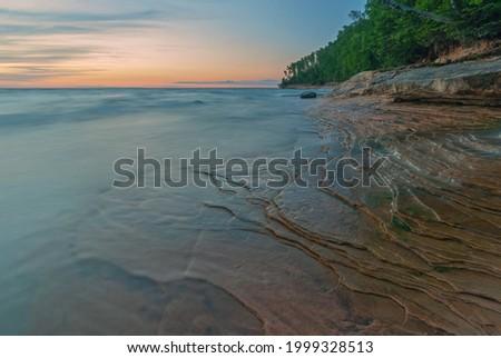 Landscape of Miner's Beach at twilight, Lake Superior, Pictured Rocks National Lakeshore, Michigan's Upper Peninsula, USA
