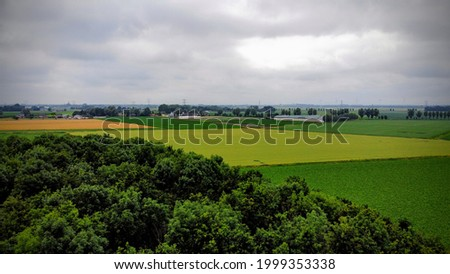 View from over the tree tips with a drone, looking at agriculturen lands with different teints. Cloudy sky.
