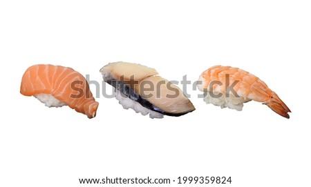 Salmon Sushi, Saba Sushi and Shrimp Sushi, isolated on white background. Usable for any Japanese Restaurant as Sushi Menu and for Japanese food concept.